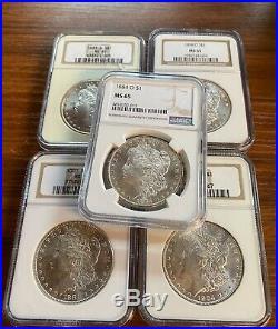 BULK Lot (5 Coins) MS65 1879-1904 Morgan Silver Dollar NGC/PCGS Set Collection