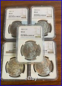 BULK Lot 5 Dif Coins MS62 1879-1904 Morgan Silver Dollar NGC/PCGS Set Collection