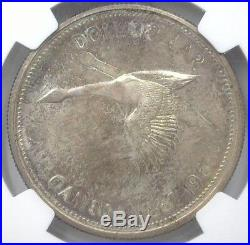 Canada 1967 Silver Dollar -double Struck, Rotated Collar Mint Error- Ngc Ms66