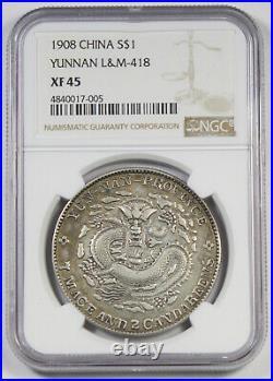 China 1908 Yunnan $1 Silver Dragon Dollar NGC XF45 XF L&M-418 Y#-254 Nice Toning