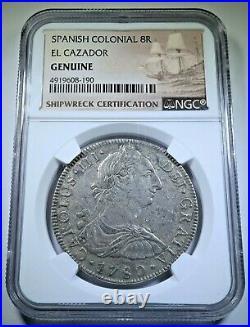 NGC 1780 El Cazador Shipwreck Silver 8 Reales 1700's Pirate Treasure Dollar Coin