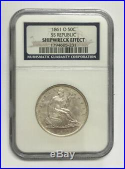 NGC 1861-O Silver Half Dollar SS Republic Shipwreck Coin NGC Box & COA RARE
