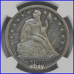 NGC U. S. Seated Liberty 1870 $1 One Silver Dollar AU55