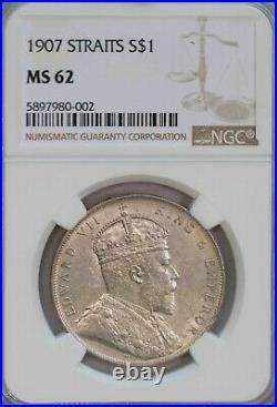 Ngc-ms62 1907 Straits One Dollar Silver Unc Luster
