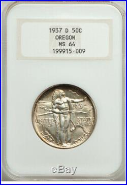 Oregon Trail Commemorative Silver Half Dollar 1937-D NGC MS64