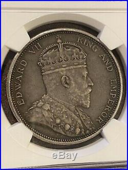 Straits Settlements Dollar 1903 B Raised Mintmark Key Date Very RARE NGC XF45
